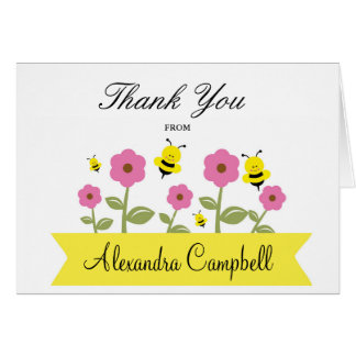 Bumble Bee Baby Shower Thank You Note Cards