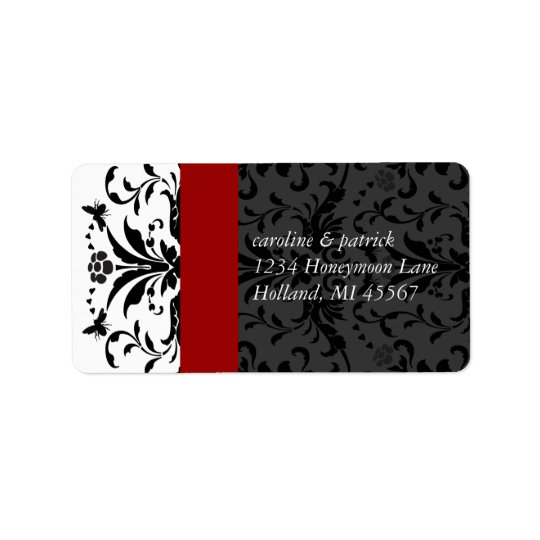 Bumble Bee Black Damask  Address Labels Red Trim