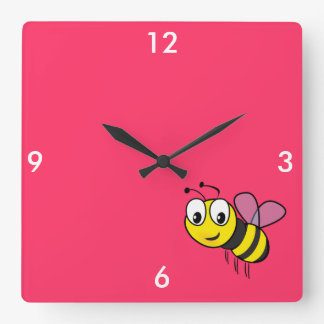 Bumble Bee, Buzz Square Wall Clocks