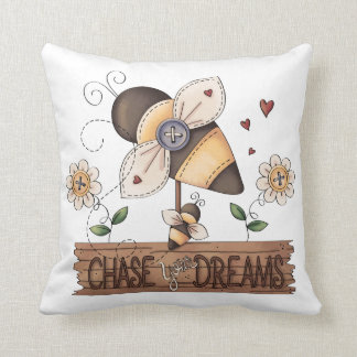 Bumble Bee Chase Your Dreams Primitive Art Throw Pillow