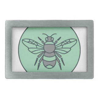 Bumble Bee Circle Mono Line Rectangular Belt Buckle