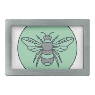 Bumble Bee Circle Mono Line Rectangular Belt Buckles