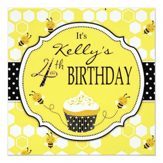 "Bumble Bee Cupcake Fourth Birthday 5.25"" Square Invitation Card"