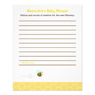 Bumble Bee Custom Flyer Baby Shower Advice Cards