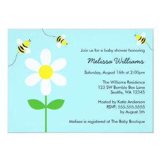 Bumble Bee Daisy Baby Shower Invitations