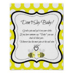 Bumble Bee Don't Say Baby- Baby Shower Game Poster