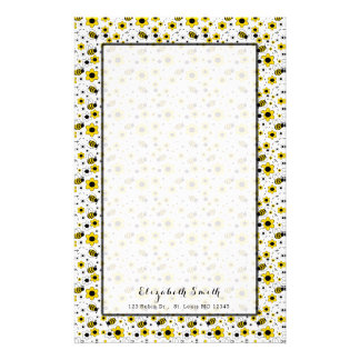 Bumble Bee Floral Girl Personalized Stationery