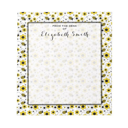Bumble Bee Floral Personalized Social Stationery Notepad