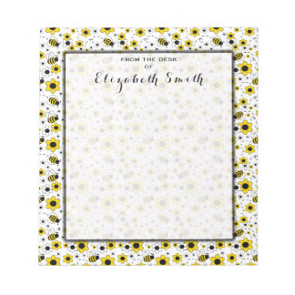 Bumble Bee Floral Personalized Social Stationery Notepads