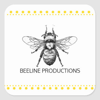 Bumble Bee Gold Square Sticker