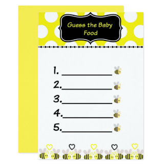 Bumble Bee Guess the Baby Food Baby Shower Game Card