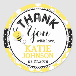 Bumble Bee Honeycomb Baby Shower Label Round Sticker