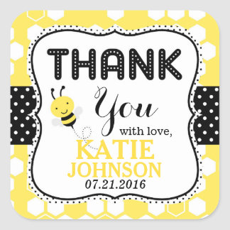 Bumble Bee Honeycomb Baby Shower Label Square Sticker