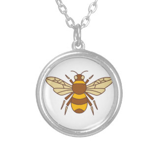 Bumble Bee Icon Silver Plated Necklace