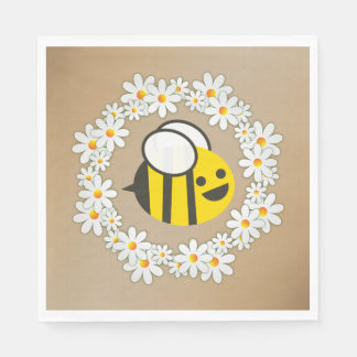 Bumble Bee In A Daisy Wreath Birthday Party Disposable Napkins