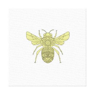 Bumble Bee Mandala Canvas Print