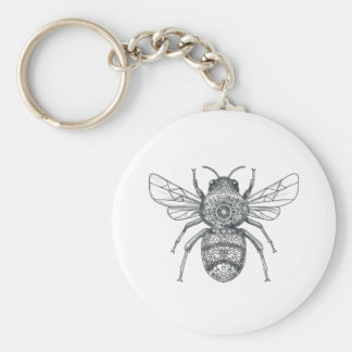 Bumble Bee Mandala Tattoo Keychain