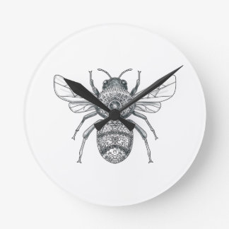 Bumble Bee Mandala Tattoo Round Clock