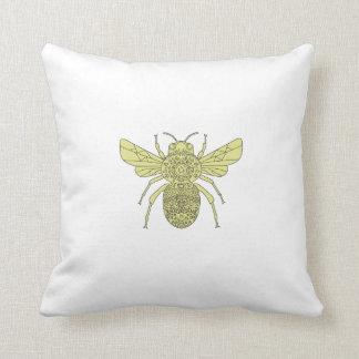 Bumble Bee Mandala Throw Pillow