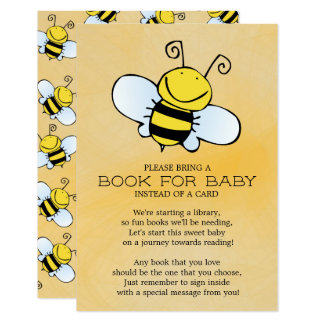 Bumble Bee Neutral Baby Shower Book for Baby Card
