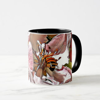 Bumble bee on blossom mug