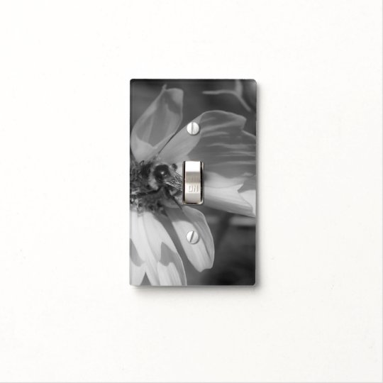 Bumble Bee On Cosmos Flower In Black And White Light Switch Cover