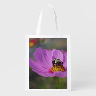 Bumble Bee On Pink Cosmos Flower Reusable Grocery Bag