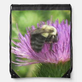 Bumble Bee On Thistle Drawstring Bag