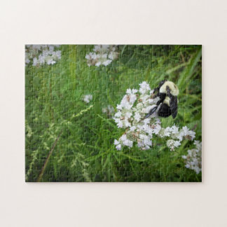 Bumble Bee on White Flowers Jigsaw Puzzle