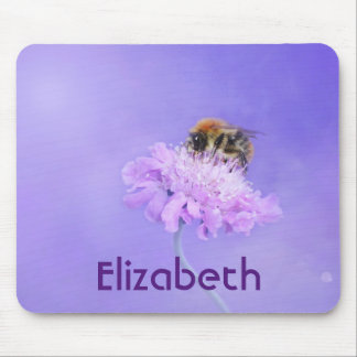 Bumble Bee Perched on a Pink Flower Personalized Mouse Pad