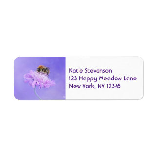 Bumble Bee Perched on a Purple Flower Return Address Label