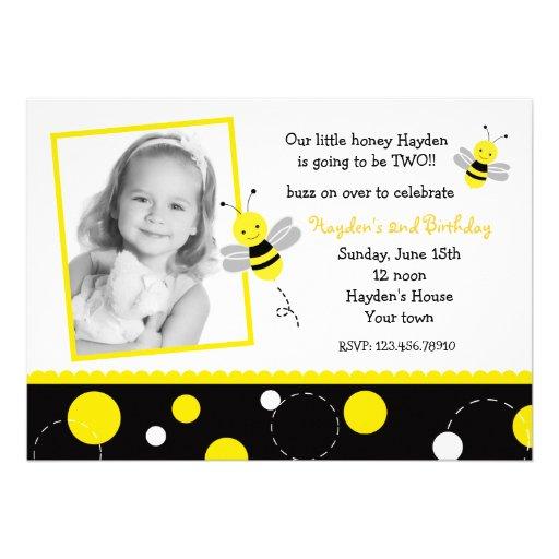Bumble Bee Photo Birthday Party Invitations
