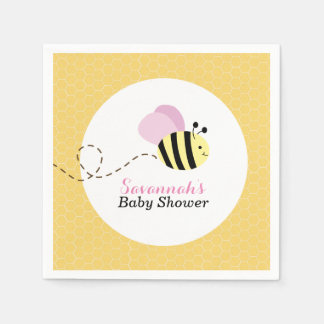Bumble Bee Pink Wings Custom Napkins Disposable Napkins