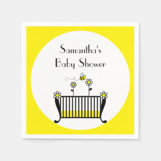 Bumble Bee Polka Dot Baby Shower Paper Napkins