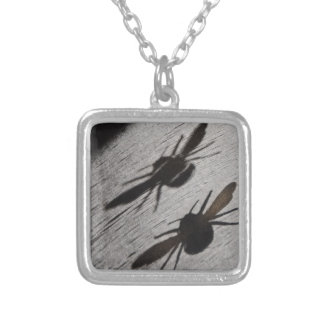 Bumble Bee Silhouette Shadow Silver Plated Necklace