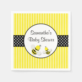 Bumble Bee Striped Polka Dots Baby Shower Disposable Napkins
