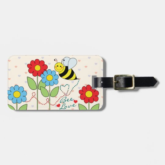 Bumble Bee With Flowers Address Luggage Tag