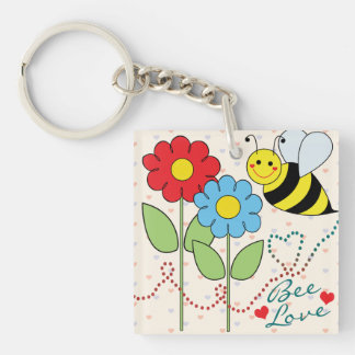 Bumble Bee With Flowers Bee Love Keychain