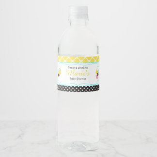 Bumble Bee Yellow and Black Baby Shower Water Bottle Label