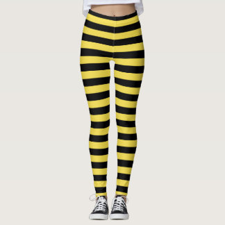 Bumble Bee Yellow and Black Striped Leggings