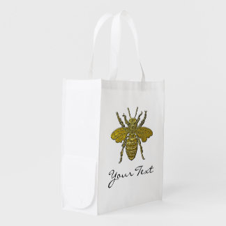 Bumble Bee Your Text and Color Reusable Grocery Bag