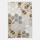 Bumble Bees Grey Honeycomb Kitchen Towel