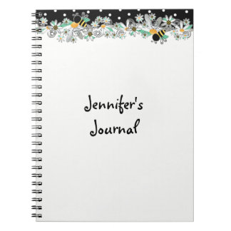 Bumble Bees White Daisies and Black Polka Dots Notebooks