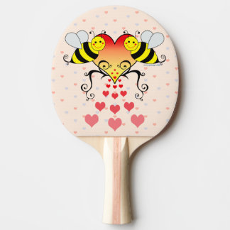 Bumble Bees With Hearts Design Ping Pong Paddle