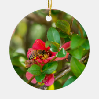 Bumblebee And Azalea Ceramic Ornament
