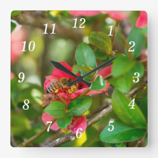 Bumblebee And Azalea Square Wall Clock