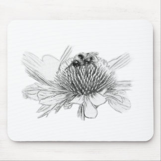 Bumblebee and flower mouse pad