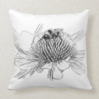 Bumblebee and flower throw pillow
