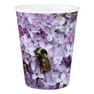 Bumblebee and Lilac Paper Cup