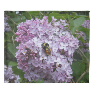 Bumblebee and Lilac Tree Duvet Cover